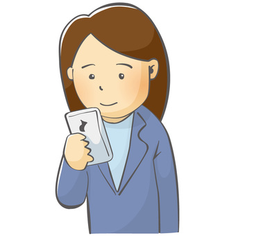 Female employee who operates smartphone
