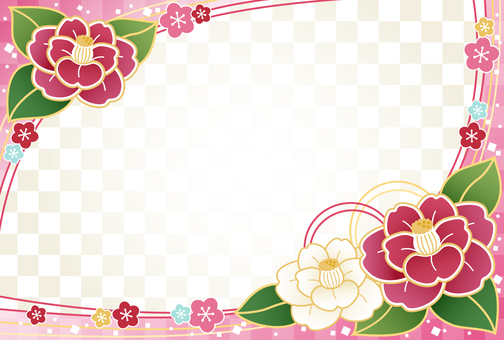 Japanese style camellia background material