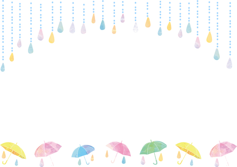 Umbrella and rain watercolor style image ・ Horizontal transparent ant