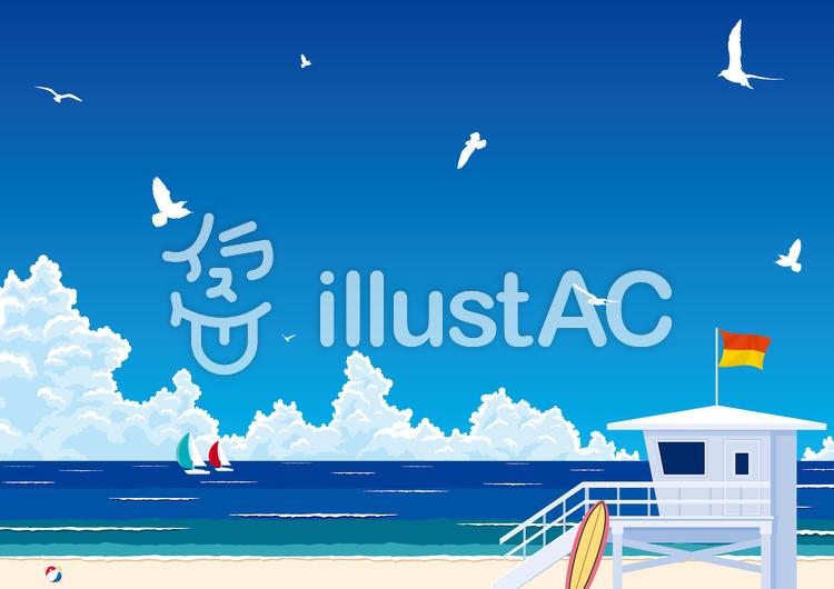 真夏の入道雲と青い海 ビーチリゾートのイラスト