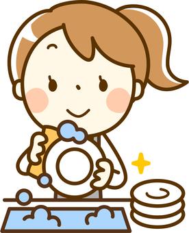 Girl playing part-time job - Dishwashing