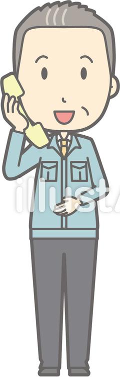 中年男作業着-電話-全身のイラスト