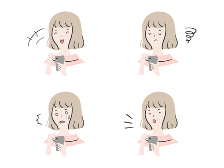 Handwritten facial expression set of a woman holding a smartphone