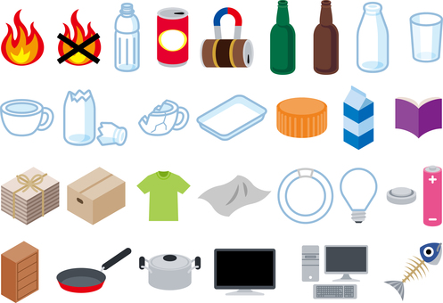 Garbage separation recycling icon color