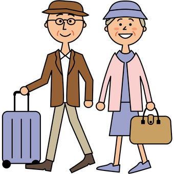 Senior couple traveling