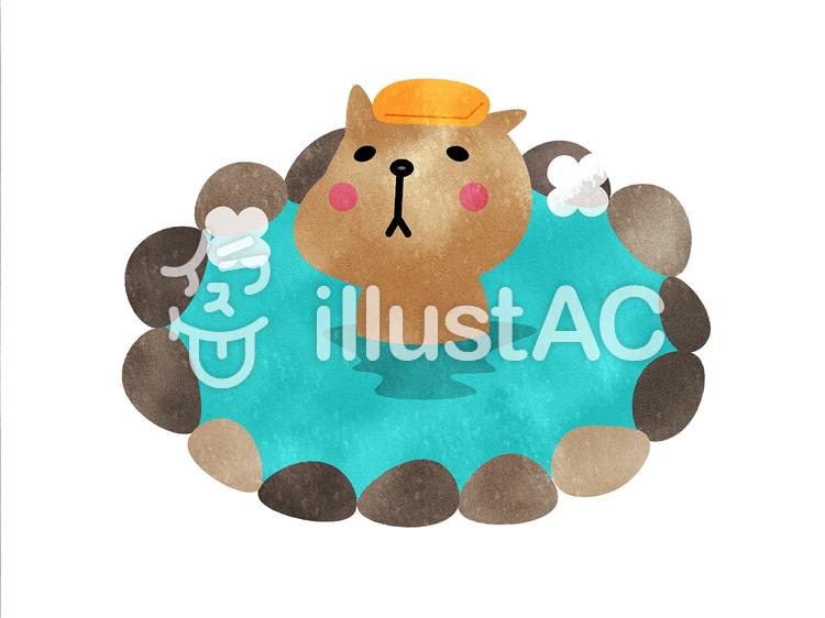 カピバラ 温泉 かわいい 動物イラスト No 1401688無料イラストなら