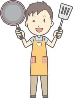 Nursery teacher man - frying pan - whole body
