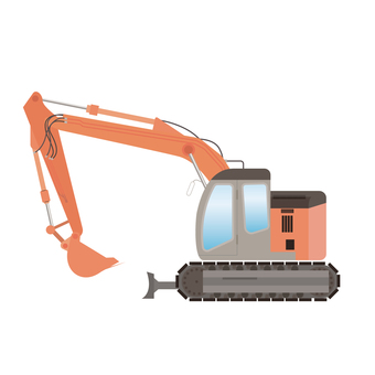 Illustration of hydraulic excavator construction machine