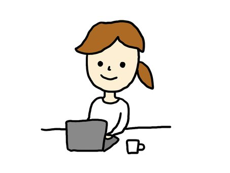 A young woman working on a computer