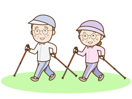 Elderly people in Nordic walking