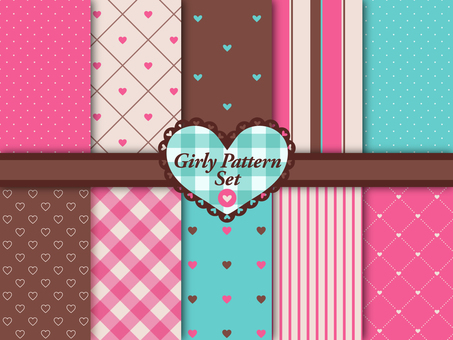 Girly Color Heart Pattern Set