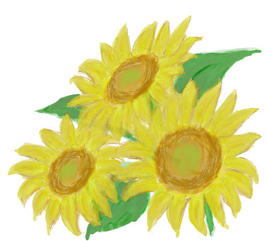 Sunflower watercolor wind