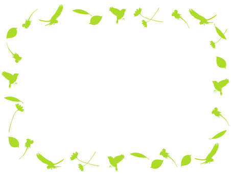 Bird and flower and leaf silhouette Frame 6