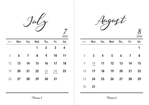 2020 Calendar July-August A5