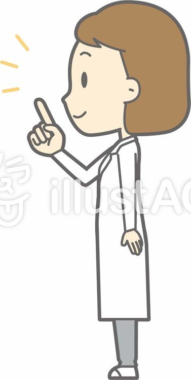 栄養士女性a-指差し左横-全身のイラスト