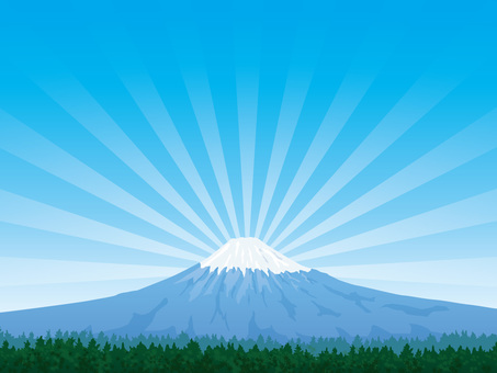 Mt. Fuji with green and refreshing blue sky background 03