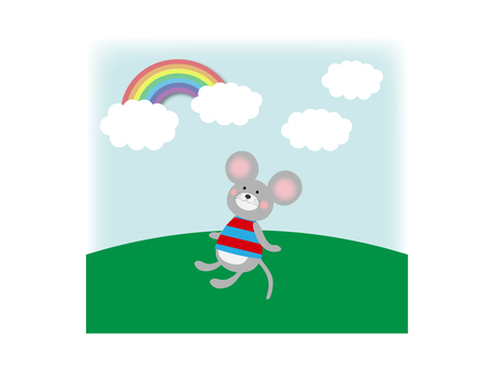 Mouse mouse sunburst illustration material