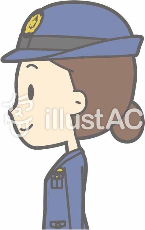 警察官女性a-立つ左横-バストのイラスト