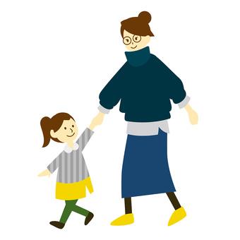 Girl pulling mom's hand