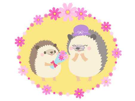 【Respect for the Aged Day】 Hedgehog clip art material