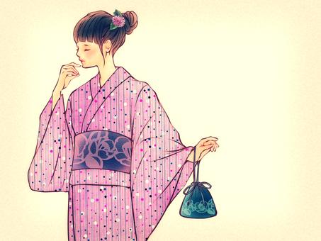 Yukata girl with dumpling hair