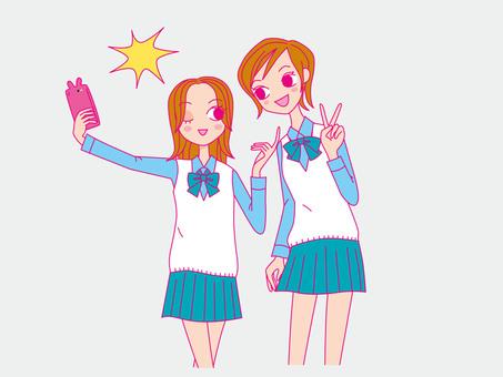 Self-portrayed school girls