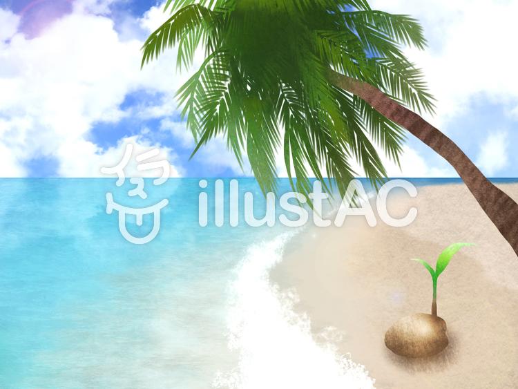 【フリーイラスト素材】浜辺とヤシの実と穏やかな海