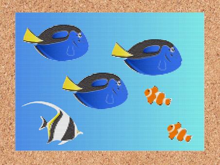 時尚刺繡風格熱帶魚卡1