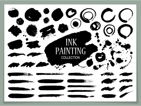 Texture set of ink brush