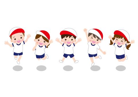 체육복으로 점프하는 아이들