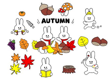Autumn rabbit illustration set (simple)