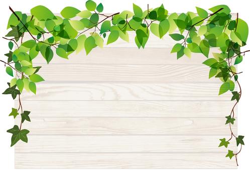 新緑と木の板フレーム