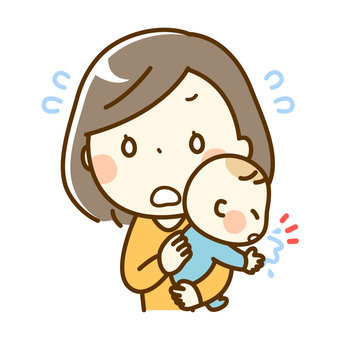 Baby and mum _ spitting back
