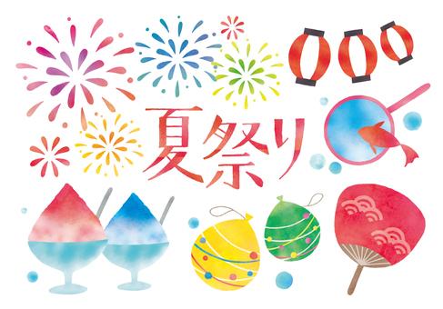 夏祭り水彩