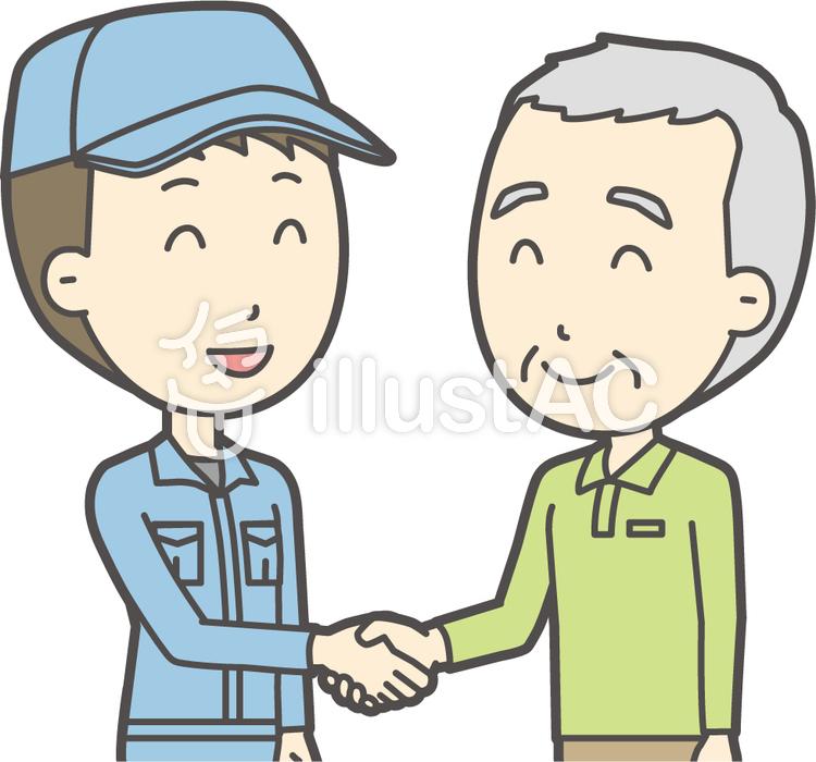 老人男性握手-017-バストのイラスト