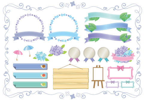 Decoration material 055 Set of hydrangea ribbon