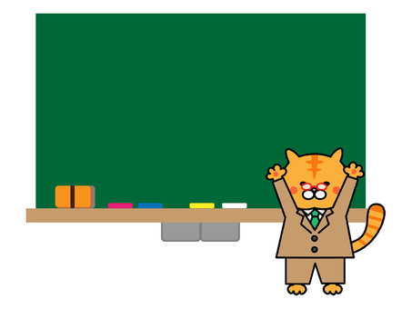 Cat teacher and blackboard