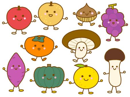 秋の野菜・果物イラストセット