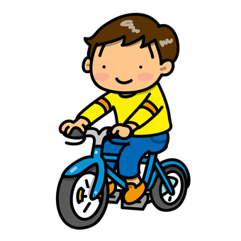 自転車にのった男の子のイラスト