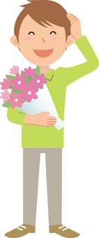 70214. Male, bouquet, full body