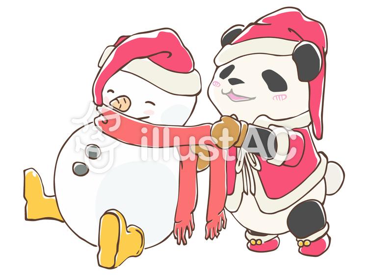 パンダと雪だるま(手描き)のイラスト