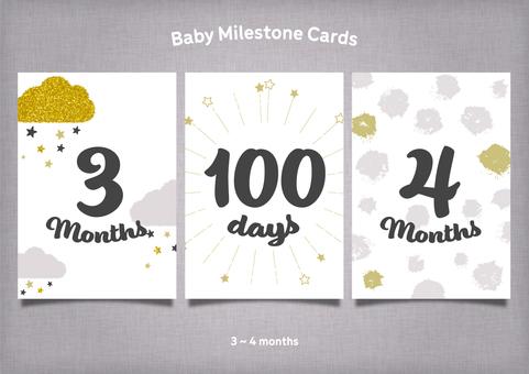 モノトーン&金色の月齢カード3~4か月