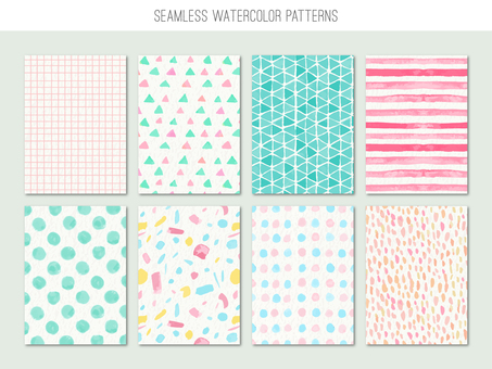 Seamless pattern of hand-painted watercolor style