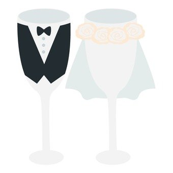 Bride and groom wine glass
