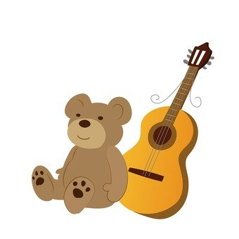Plush toys and guitar