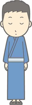 Yukata male - bow - whole body
