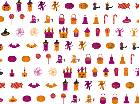 Halloween icon pattern (alternating)