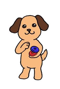 カスタネットをたたく犬