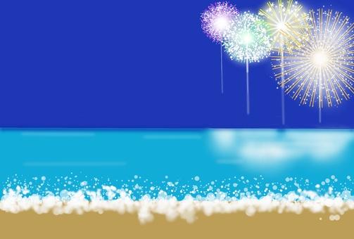 Fireworks seen from the seaside