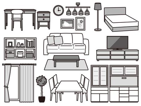 Furniture interior goods set black and white